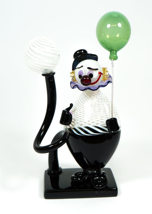 Giuliano De Mio (Murano) - Filigrana clown sculpture
