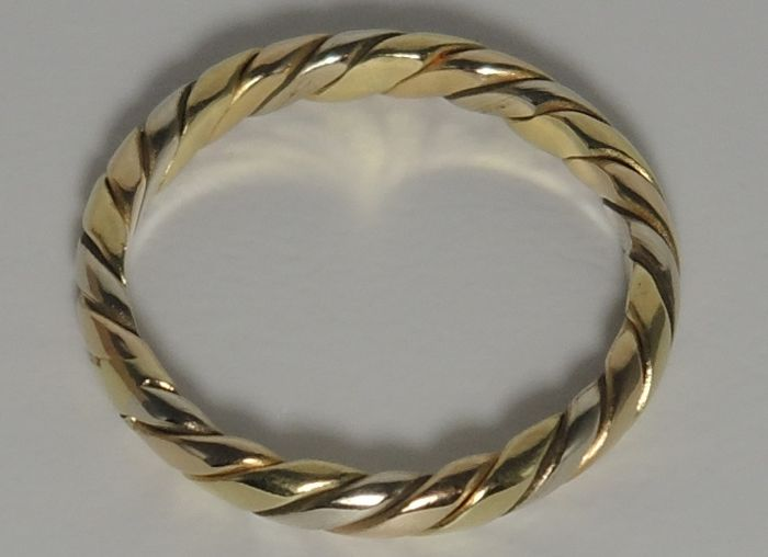 18kt tri-color twist ring – size 52 – unused