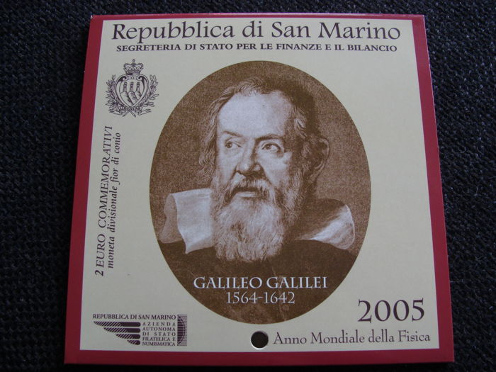 Saint-Marin - 2  Euro 2005 'Galileo Galilei' in blister