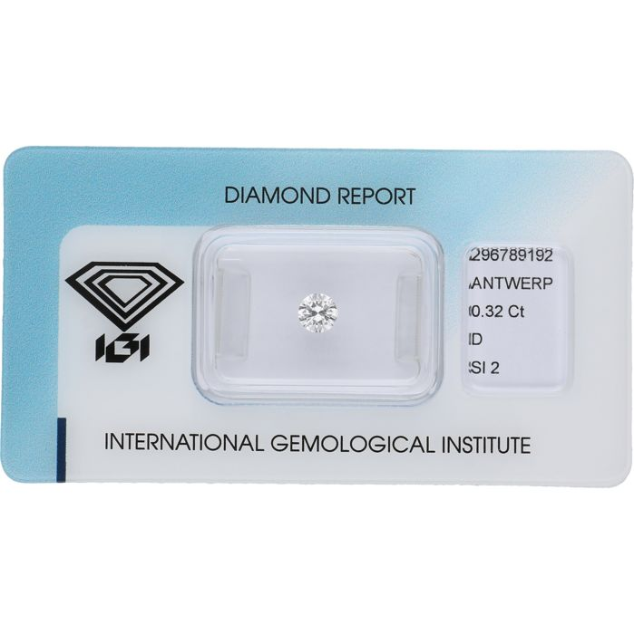 0.32 ct round brilliant cut, D SI2