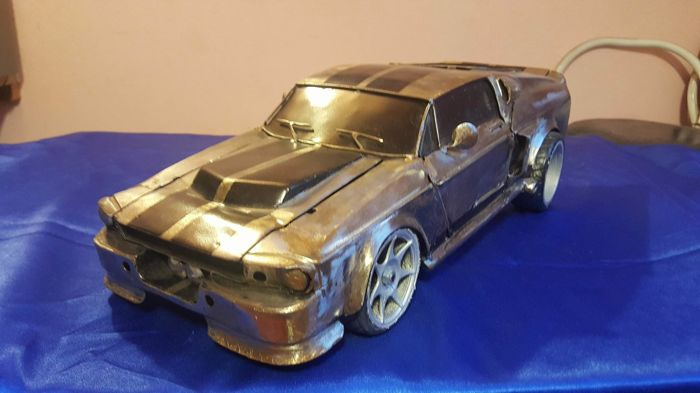 Ford Mustang Shelby GT500 Eleanor metal sculptures model Scale 1/10 Handmade