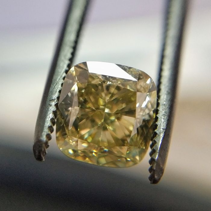 1.26 Carat Natural Diamond Fancy Brownish Greenish Yellow VS1 Cushion GIA Certificate included