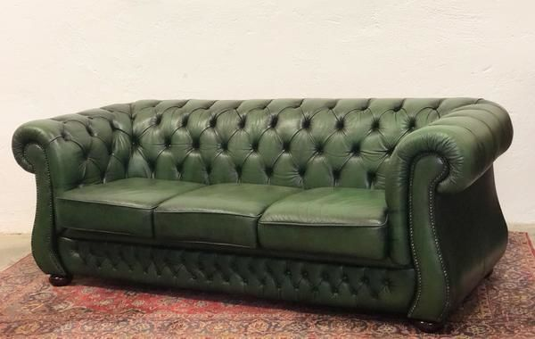 Chesterfield Style Sofa In Green Leather England 20th Century