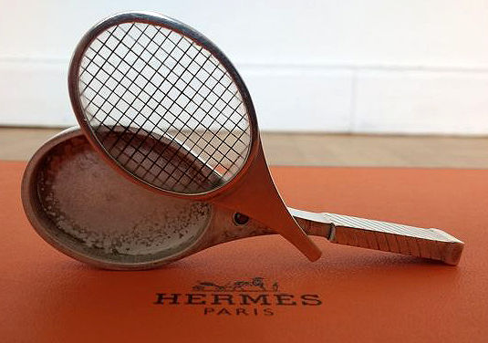 Tennis-racket-shaped pill box Hermès