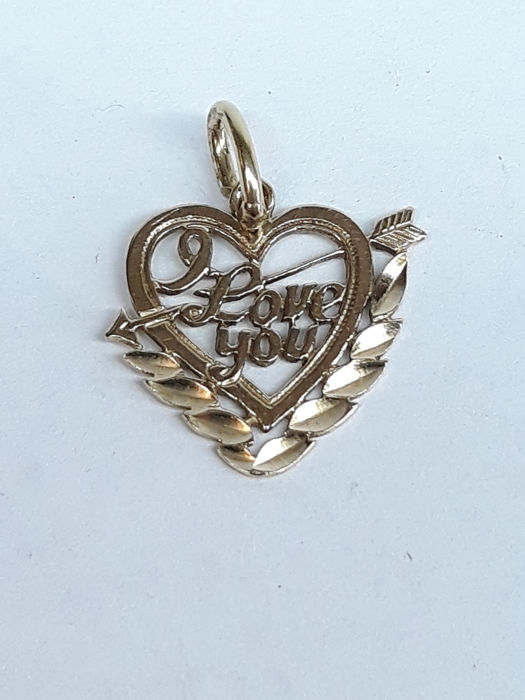 """14 kt yellow gold pendant heart """"I love you"""" No reserve!!"""