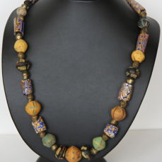 Necklace with antique trade beads (Millefiori, king's beads) from Europe and old bronze from Mali