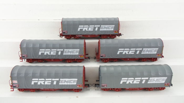 Roco H0 - 46298/46915.1 - Freight carriage - 5 Huifdak wagens type Shimms 'FRET SNCF' - SNCF