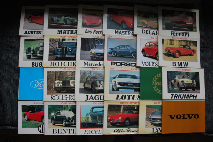 Set of 24 leaflets of the automobile collection TOUTE L'HISTOIRE edited by EPA