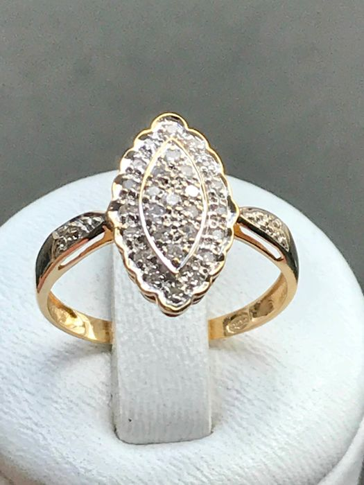 bague or jaune marquise