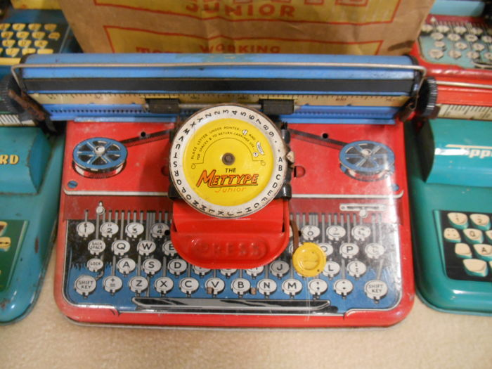 5 x tin typewriter children's toys from the 1950s-1960s England