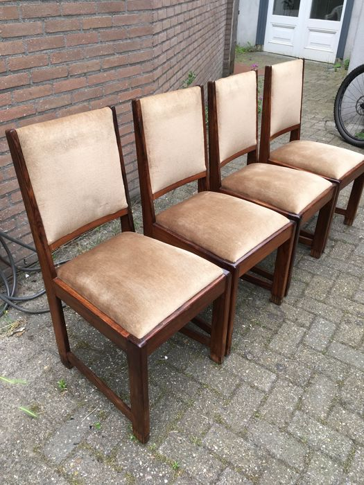 Art Deco Chairs Four Pieces   Solid Rosewood Chairs With Calamander Feet,  Ca. 1920