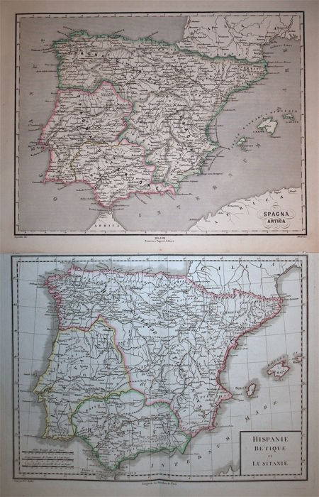Spain & Portugal; (Lot of two maps) Mentelle et Chanlaire / Pagnoni - Hispaniae Betique et Lusitanie / Spagna Antica - 1798 / 1860