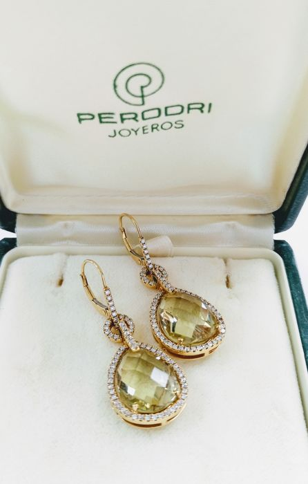 Perodri Jeweller - Approx. 17.24 ct FL-VVS1 diamond and citrine earrings