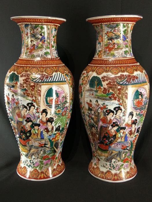 A Pair Of Rich Decorated Chinese Satsuma Vases China 1970s