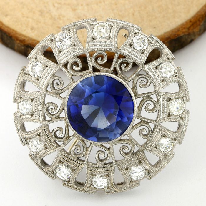 diamond brooch truefacet at buy and platinum sapphire