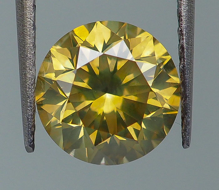 2.04 ct - Natural Fancy Diamond - INTENSE Greenish Yellow SI1 *NO RESERVE*