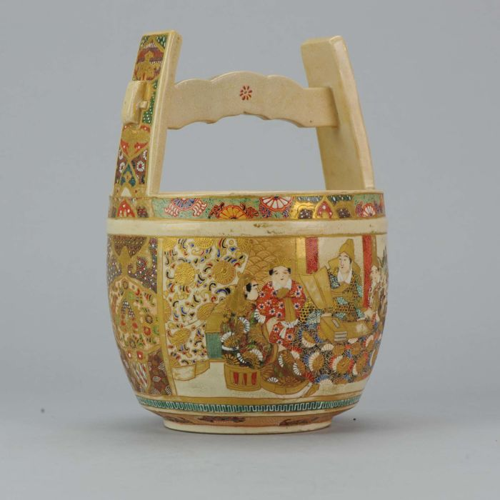 Satsuma Basket incense burner with flowers - Japan - 19th century (Meiji period)