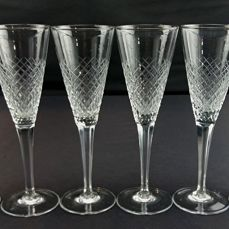 Set of six vintage crystal champagne flutes - Waterford