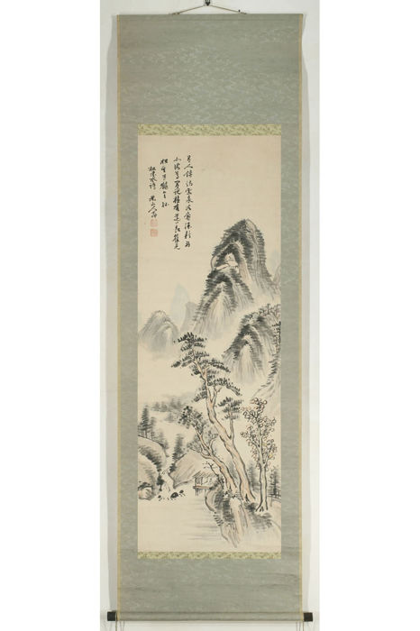 Original hanging scroll painting by Okada Beisanjin 岡田米山人 (1744-1820) - Chinese Landscape - Japan - Early 19th century (Edo Period)