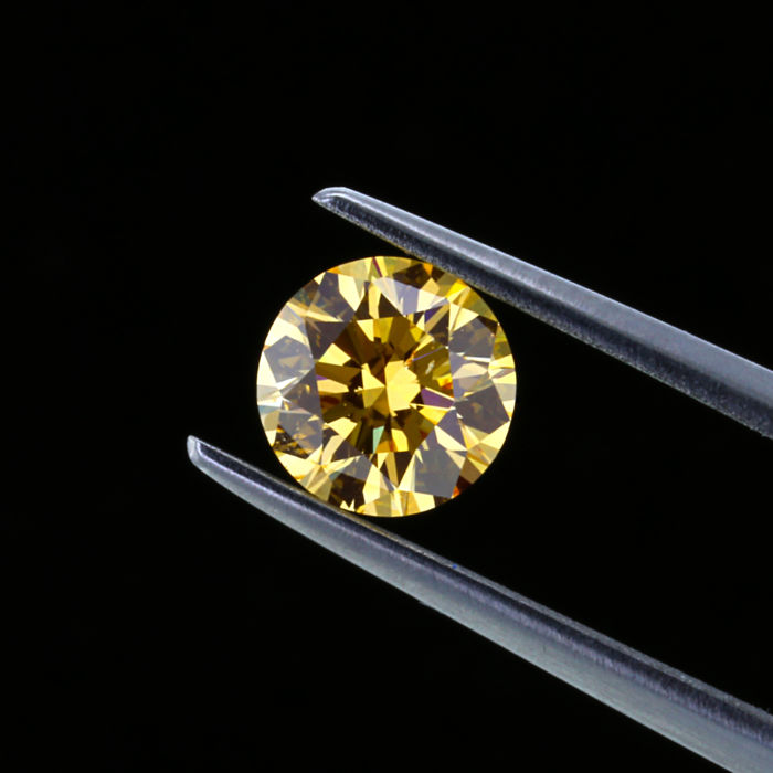 Rare collection stone, 1.02 ct. Natural Fancy Intense Orange Yellow color Diamond, GIA