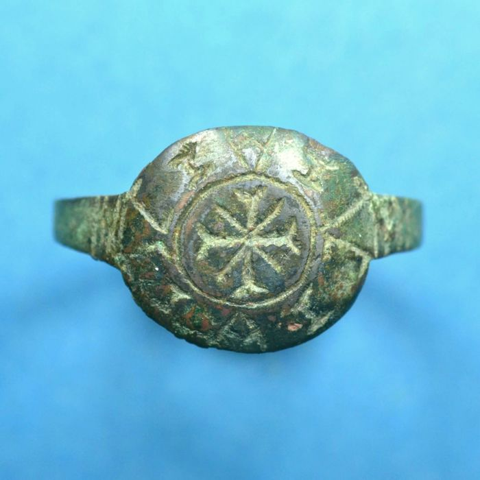 Holy Land Crusader's Knight Bronze Seal Ring Cross and Inscription