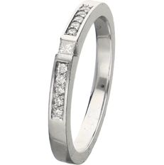 18 kt - White gold ring set with a princess cut diamond and 10 brilliant cut diamonds of approx. 0.16 ct in total - Ring size: 17.5 mm