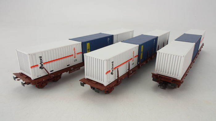 Rivarossi H0 - 2425 - Freight carriage - 3 Platte wagens type Rs beladen met containers - SNCF