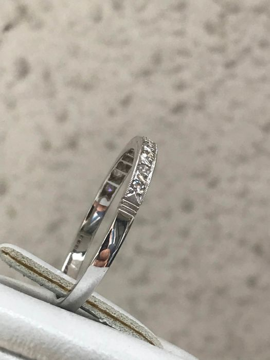 Antique band in platinum and diamonds of 0.22 ct size 54/17.20 mm **no reserve price**