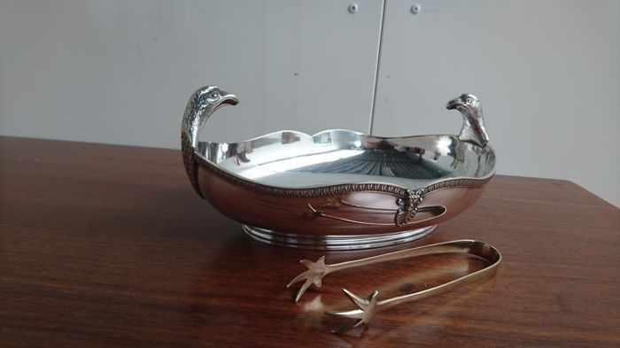 Silver plated copper Art Deco Cookie dish