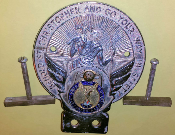 Beautiful Vintage Grill Badge - Behold St. Christopher And Go Your Way In Safety - Royal Air Forces Association
