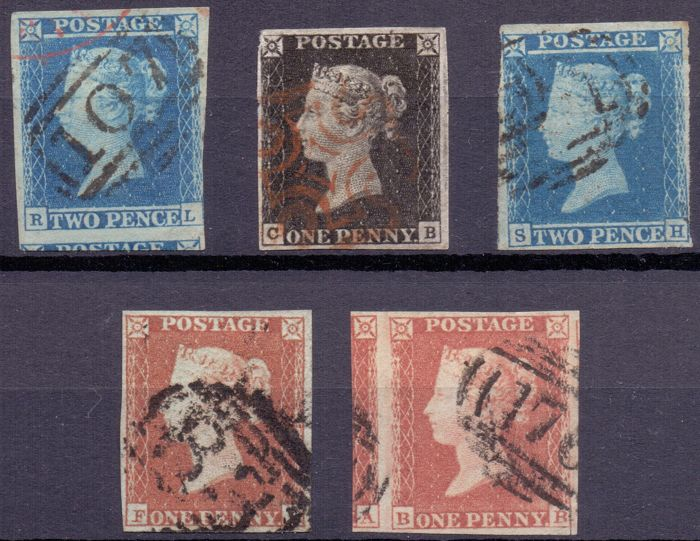 Great Britain 1840/1841 - Composition Black, Blue and Red Pennies, Queen Victoria on black presentation cards