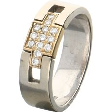 18 kt - White gold ring set with 13 brilliant cut diamonds of approx. 0.13 ct in total in a yellow gold setting - Ring size: 17.25 mm