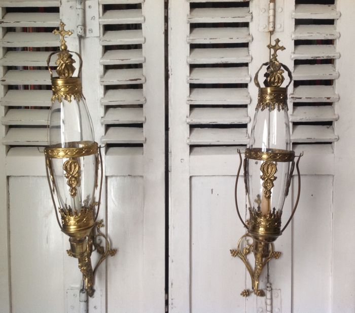 2 old church wall candle holders