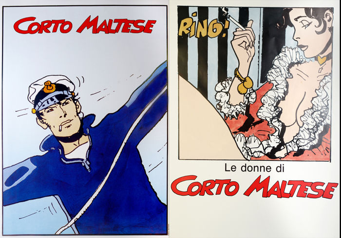 "Pratt, Hugo - 2x posters ""Marinaio"" and ""Le donne di Corto Maltese"" (1984-85)"