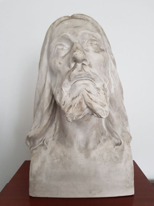 magnificent big bust of jesus christ from 1952 signed