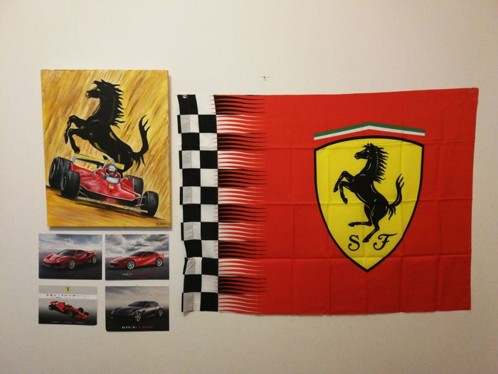 Ferrari - Picture Gilles Villeneuve 312 T4 - Oil painting on canvas 40x50 cm - Nos. 4 postcards GTC4 Lusso - 812 Superfast - 488 Pista - SF 71H - Official Product Ferrari flag - 2016 - for collectors