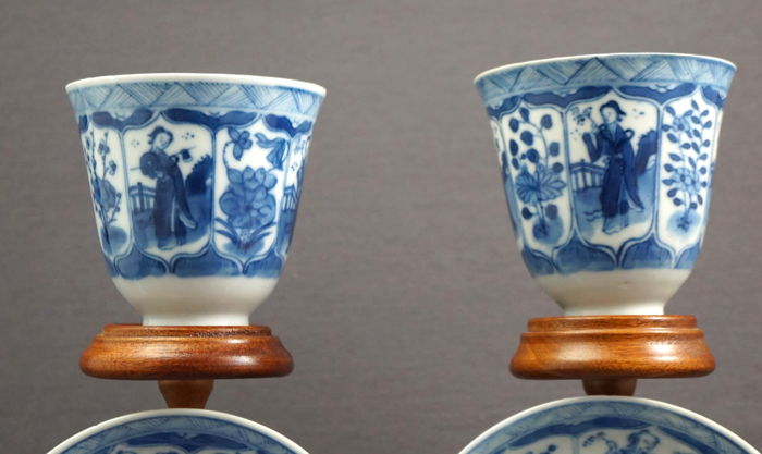 Cup and saucers with decoration of women - China - 19th century
