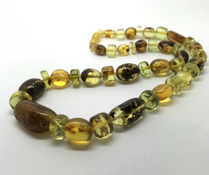 Vintage necklace of natural green amber big beads, not pressed, not treated, no reserve