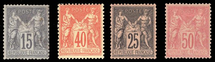 France 1875 - Sage type, lot 4 stamps - Yvert 90, 94, 97, 98