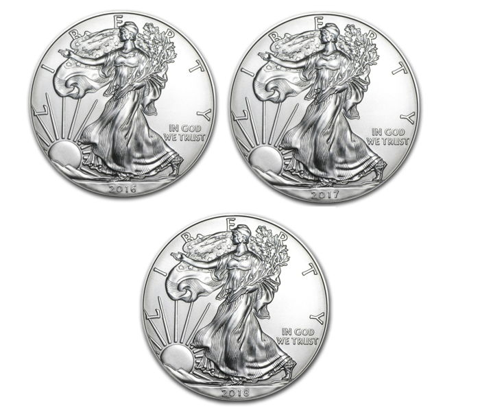 USA - 3 x $1 - US Mint - 3 x 1 oz 999 Silver Silver Coins - American Silver Eagle 2016 + 2017 + 2018