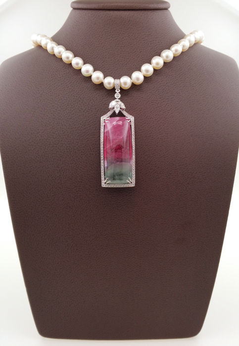 18 kt. - Necklace with pendant - 43.01 ct Tourmaline - Diamond, Pearl