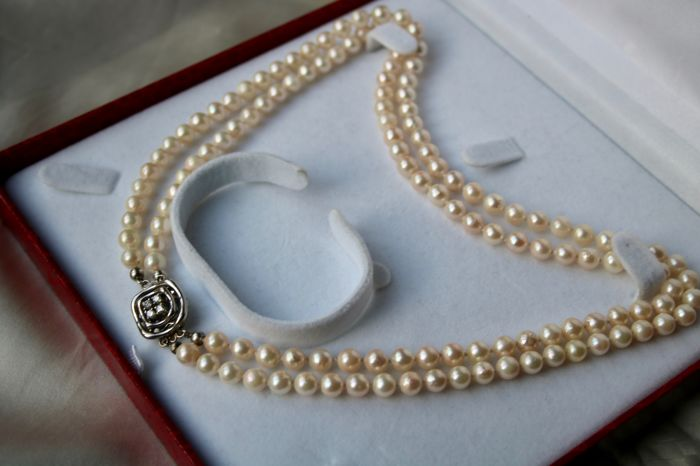 2 Row Pearl Necklace With Ivory White Japanese Sea Salty Pearls