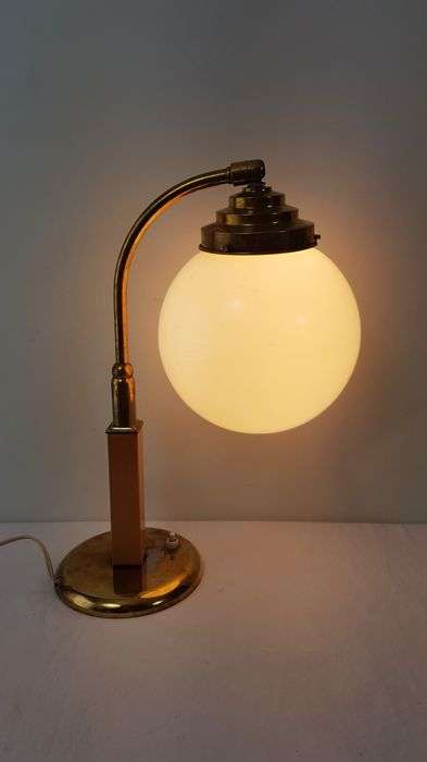 Table lamp with milk glass sphere - 20th century