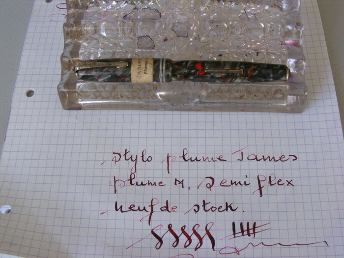 Superb James (Waterman)  Art Deco Marbled Fountain Pen. New From Stock. Grey, Red, White