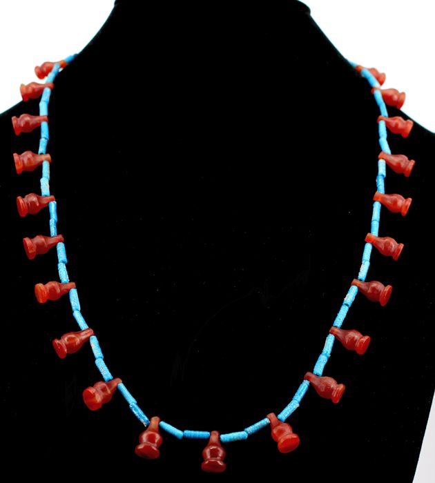 Egyptian nacklace with faience, lapis and 21 carnelian  Poppy beads. - c. 23,62 inches - ca. 60cm.