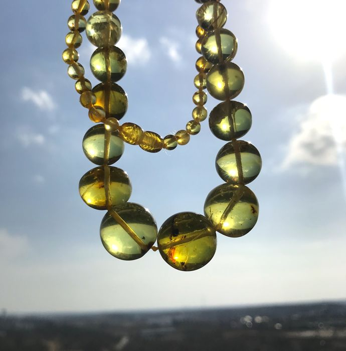 Classical vintage necklace of natural green amber , 50 cm, not pressed, not treated