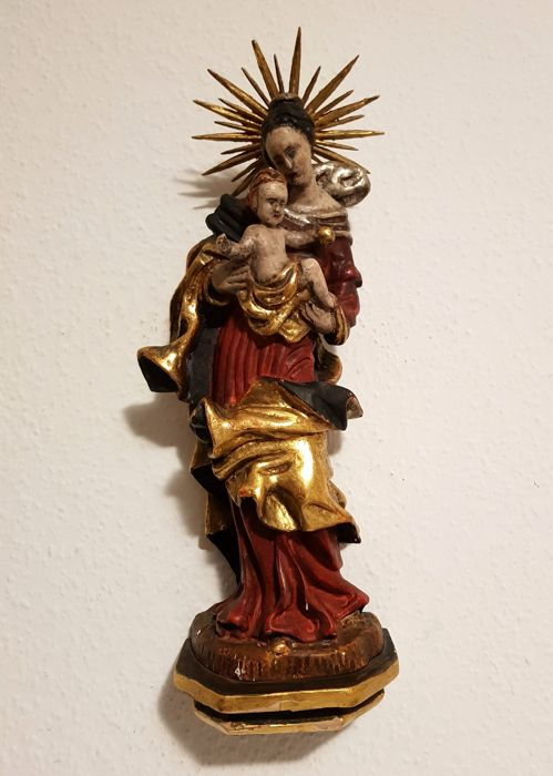 Wooden Madonna figure with infant Jesus approx. 41 cm 18/19th century