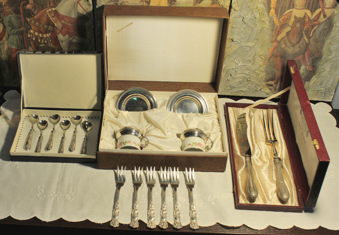 Lot of 14 silver cutlery items and 2 silver coffee cups with saucer - Kronester Bavaria - Italy - circa 1960