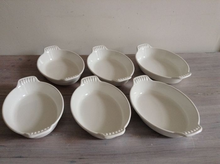 'LE CREUSET' 6 Vintage oven bowls in white enamel cast iron - No 20