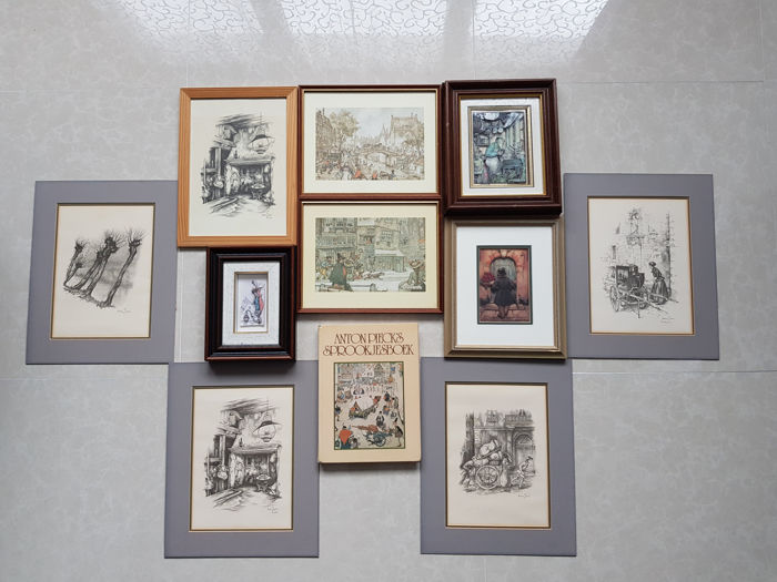 Anton Pieck, framed dioramas, book and old prints